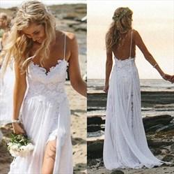 Spaghetti Strap Sleeveless Lace Chiffon Beach Wedding Dress With Slit