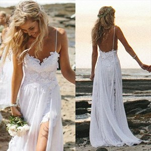 Spaghetti Strap Sleeveless Lace Chiffon Beach Wedding Dress With Slit