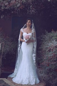 White Sweetheart Lace Mermaid Floor Length Wedding Dress With Straps