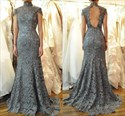 Elegant High-Neck Cap Sleeve Lace Mermaid Prom Dress With Keyhole Back
