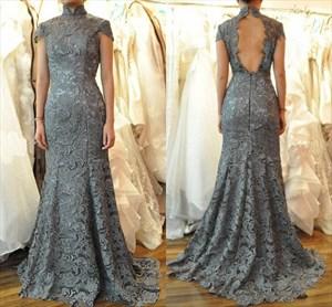 Elegant High-Neck Cap Sleeve Lace Mermaid Prom Dress With Keyhole Back