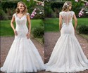 Show details for Applique Cap Sleeve V-Neck Mermaid Wedding Dress With Illusion Back