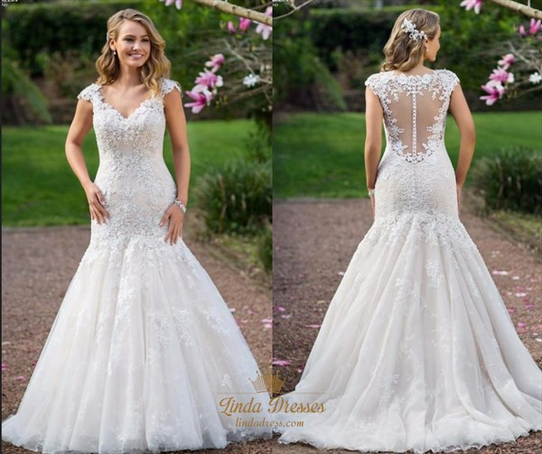 Applique Cap Sleeve V-Neck Mermaid Wedding Dress With Illusion Back