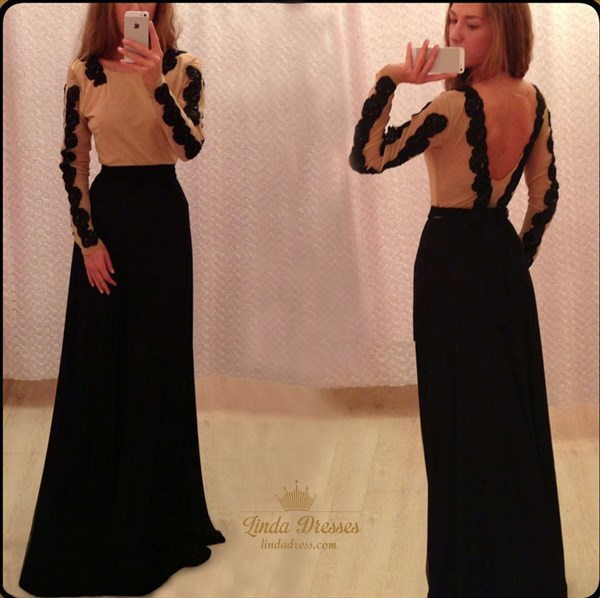 Long Sleeve Backless Lace Embellished Floor Length A-Line Prom Gown