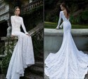 Elegant Backless Long Sleeve Mermaid Chapel Train Lace Wedding Dress