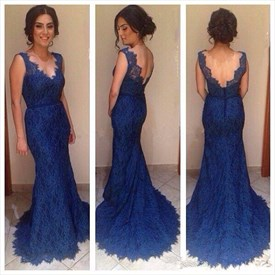 Royal Blue Sleeveless V-Neck Lace Mermaid Prom Dress With Open Back