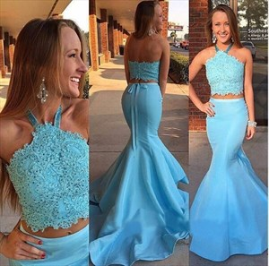 Trumpet/Mermaid Two-Piece Halter Lace Bodice Stain Long Formal Dress