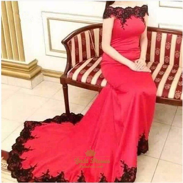 Elegant Red Off Shoulder Long Prom Dress With Black Lace Embellished