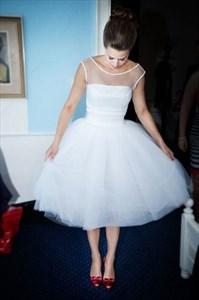 Lovely Illusion Neckline Tea Length Tulle Skirt A-Line Wedding Dress