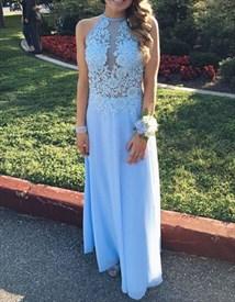 Light Blue Sleeveless Illusion Bodice Chiffon Long Bridesmaid Dress