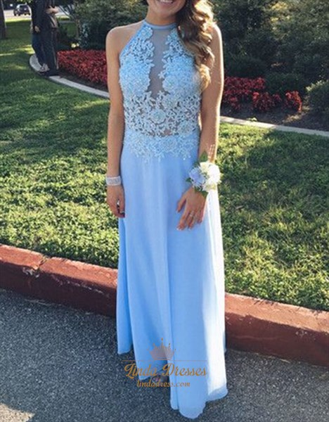 Light Blue Sleeveless Illusion Bodice Chiffon Long Bridesmaid Dress