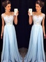 Show details for Illusion Light Blue Cap Sleeve Lace Bodice Chiffon Bottom Prom Dress