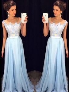 Illusion Light Blue Cap Sleeve Lace Bodice Chiffon Bottom Prom Dress
