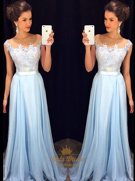 Illusion Light Blue Cap Sleeve Lace Bodice Chiffon Bottom Prom Dress