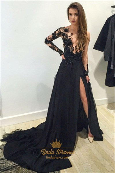 Sheer Black Floral Applique Long Sleeve Chiffon Prom Dress With Train