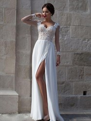 Sheer Long Sleeve White A-Line Lace Chiffon Floor-Length Prom Dress