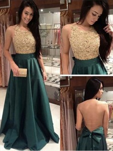 Sleeveless Floor Length Lace Bodice A-Line Prom Dress With Sheer Back
