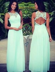 Mint Green Elegant Sleeveless Lace Bodice Keyhole Back Long Prom Dress
