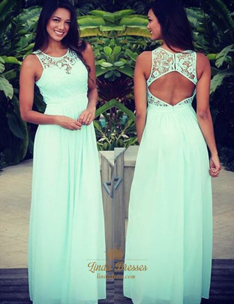 Mint Green Elegant Sleeveless Lace Bodice Keyhole Back Long Prom Dress