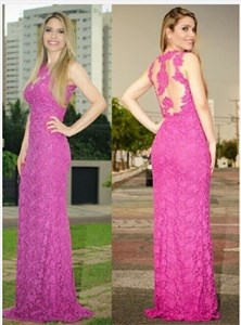 Illusion Hot Pink Sleeveless Lace Floor-Lenght Elegant Evening Dress