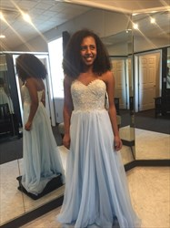 Light Blue A-Line Strapless Lace Bodice Chiffon Bottom Long Prom Dress