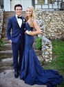 Show details for Dark Blue Elegant Strapless Floor-Length Mermaid Prom Dress With Train