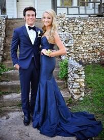 Dark Blue Elegant Strapless Floor-Length Mermaid Prom Dress With Train