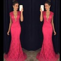 Show details for Floor-Length Hot Pink Deep V-Neck Cap Sleeve Lace Mermaid Evening Gown