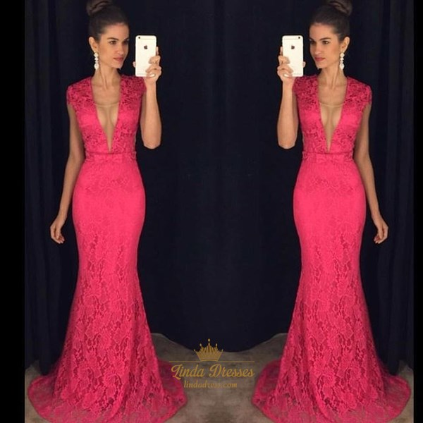 Floor-Length Hot Pink Deep V-Neck Cap Sleeve Lace Mermaid Evening Gown