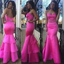 Show details for Elegant Strapless Sweetheart Beaded Waist Ruffled Mermaid Prom Dress
