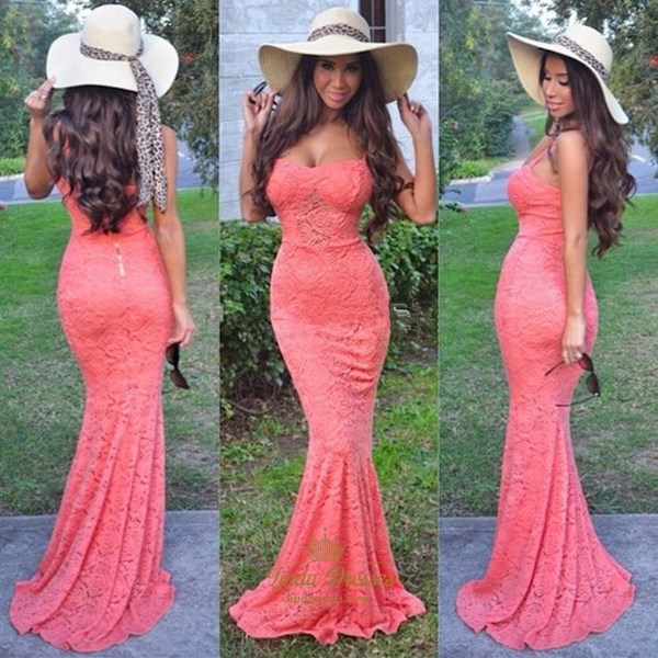 Elegant Coral Spaghetti Strap Lace Floor-Length Mermaid Evening Dress