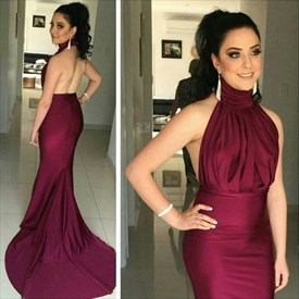 Burgundy High Neck Ruched Bodice Mermaid Prom Dress With Open Back