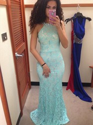 Light Blue Beaded Lace Sleeveless Mermaid Prom Gown With Cut Out Waist