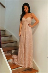 A-Line Strapless Sweetheart Empire Waist Lace Long Bridesmaid Dress