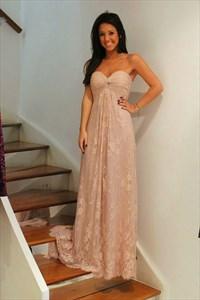 A-Line Strapless Sweetheart Empire Waist Lace Long Bridesmaid Dress