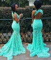 Show details for Turquoise Sleeveless V-Neck Lace Mermaid Backless Long Evening Dress