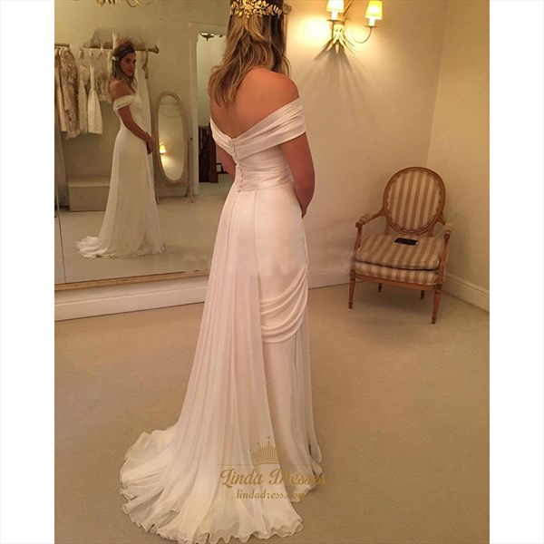 Elegant White Off-The-Shoulder Chiffon Beach Wedding Dress With Slit