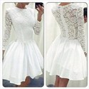 Show details for Lovely White Long Sleeve Lace Top A-Line Knee Length Homecoming Dress