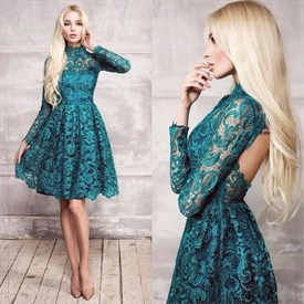 Vintage High-Neck Long Sleeve Lace Homecoming Dress With Keyhole Back