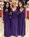 Show details for Simple Purple V-Neck Sleeveless Floor-Length Chiffon Bridesmaid Dress