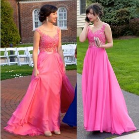 Hot Pink Cap Sleeve Floor-Length A-Line Prom Dress With Sheer Neckline