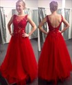 Show details for A-Line Illusion Red Sleeveless Tulle Long Prom Dress With Open Back