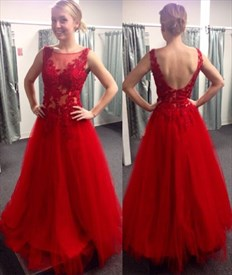 A-Line Illusion Red Sleeveless Tulle Long Prom Dress With Open Back