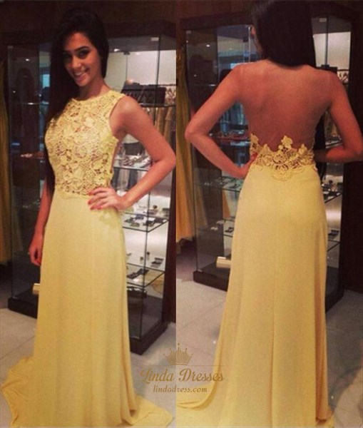 Yellow Sleeveless Lace Chiffon A-Line Long Prom Dress With Sheer Back