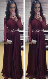 Illusion A-Line Off-The-Shoulder Long Sleeve Lace Bodice Evening Dress