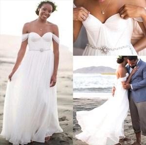 White Off The Shoulder Sweetheart A-Line Chiffon Beach Wedding Dress
