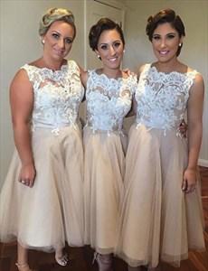 Lovely Sleeveless A-Line Tea Length Bridesmaid Dress With Lace Bodice