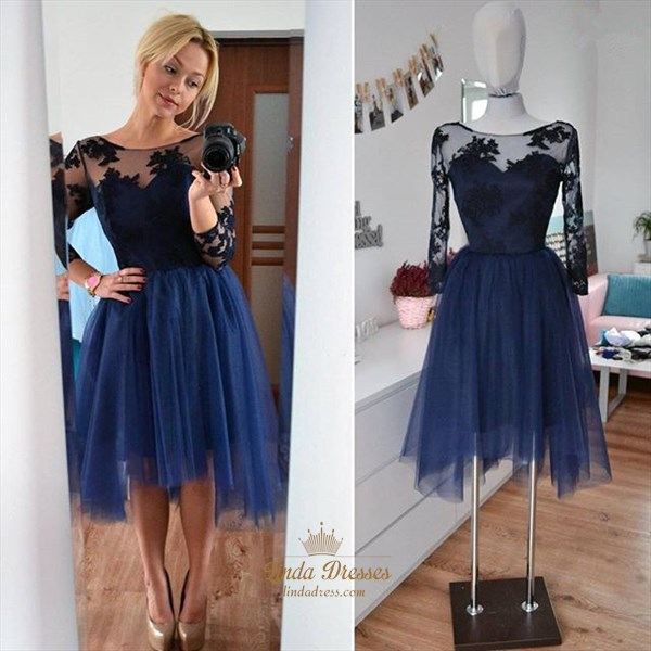 Illusion Applique Tulle Skirt Short A-Line Cocktail Dress With Sleeves