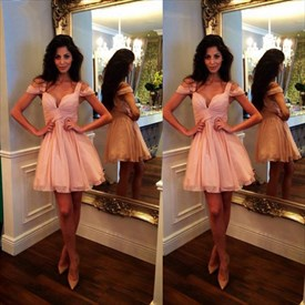 Cute Simple Pink V-Neck A-Line Chiffon Knee Length Homecoming Dress