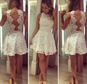 White Sleeveless Short A-Line Lace Fit And Flare Homecoming Dress